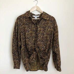VINTAGE/ animal print silk oversized blouse